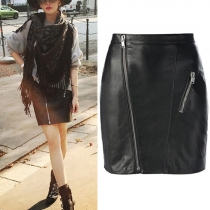 Fashion Solid Color PU Leather Zipper Bust Skirt