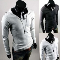 Fashion Solid Color Long Sleeve Men's Hoodies
