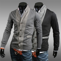 Fashion Contrast Color Long Sleeve Stand Collar Men's Coat