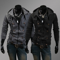 Fashion Solid Color Long Sleeve Double-breasted Hooded Men's Coat