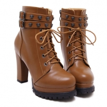 Fashion Thick Heel Round Toe Lace-up Martin Boots Booties