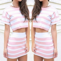 Fashion Short Sleeve Round Neck Tops + High Waist Bust Skirt Striped Two-piece Set