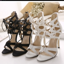 Sexy Hollow Out Crossover Lace-up Open Toe High-heeled Sandals