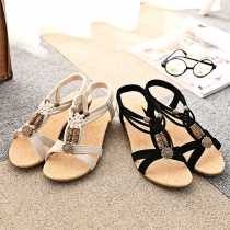 Retro Ethnic Style Wedge Heel Open Toe Sandals