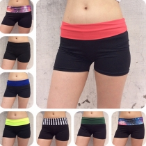 Sport Style Contrast Color High-waisted Shorts For Women
