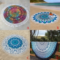 Fashion Style Round Printed Tassel Beach Towels