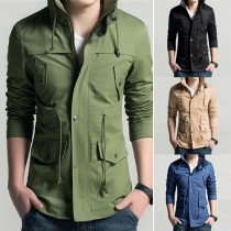 Trendy Solid Color Front Zipper Long Sleeve Stand Collar Slim Fit Men's Jacket
