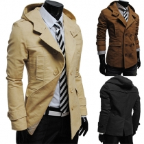 Fashion Solid Color Double-breasted Long Sleeve Hooded Men's Jacket