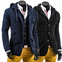 Casual Style Solid Color Front Zipper Single-breasted Hooded Long Sleeve Men's Jacket