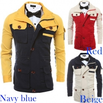 Fashion Contrast Color Front Zipper Single-breasted Lapel Long Sleeve Men's Jacket