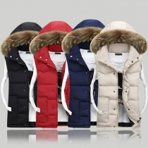 Fashion Faux Fur Collar Hooded Couple Vest