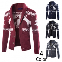 Fashion Ethnic Printed Long Sleeve Single Breasted Knit Men''s Cardigan
