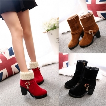 Fashion Round Toe Thick Heel Plush-lined Booties