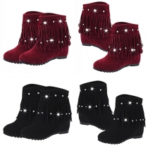 Fashion Round Toe Inner-increased Rhinestone Tassel Booties
