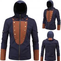 Fashion Contrast Color Long Sleeve Hooded Men's Jacket