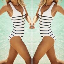 Fashion Sexy Striped Front Zipper One-piece Bikini Swimsuit