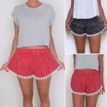 Fashion Casual Floral Printed Ball Tassel Short Beach Pants