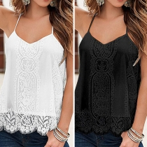Sexy Backless V-neck Solid Color Lace Cami Tops