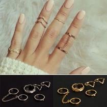 Fashion Gold/Silver-tone Alloy Ring Set 6 pcs/Set