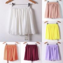 Fashion Solid Color Elastic Waist Chiffon Skirt