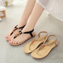 Bohemian Style Round Beaded Flat Heel Thong Sandals