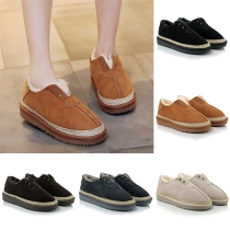Fashion Solid Color Round Toe Flat Heel Plush Lining Cotton-padded Shoes