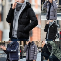 Fashion Letters Printed Long Sleeve Hooded Men's Padded Coat