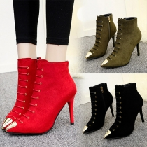 Elegant Solid Color Pointed Toe High-heeled Ankle Boots Booties
