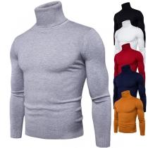 Fashion Solid Color Long Sleeve Turtleneck Men's Knit Top