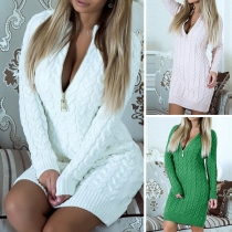 Sexy Long Sleeve Zip Front Slim Fit Knit Sweatshirt Dress