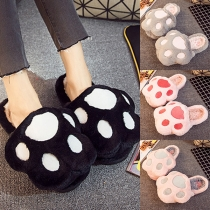 Cute Style Bear's Paw Shaped Plush Home Slippers