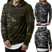 Fashion Camouflage Printed Long Sleeve Men's Hoodie