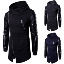 Fashion PU Leather Spliced Long Sleeve Irregular Hem Men's Hoodie