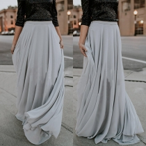 Fashion Solid Color High Waist Oversized-hem Skirt