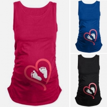 Cute Foot Printed Round Neck Tank Top for Pregnant Women