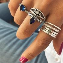 Fashion Rhinestone inlaid Ring Set 8 pcs/Set