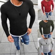 Fashion Contrast Color Long Sleeve Round Neck Men's Sweater