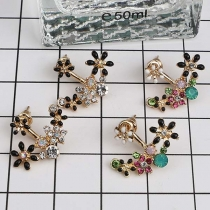 Fresh Style Colorful Rhinestone Inlaid Stud Earrings