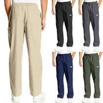 Fashion Solid Color Elastic Waist Loose Casual Pants for Men