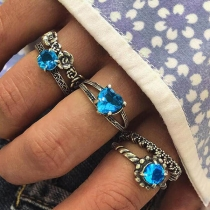 Bohemain Style Rhinestone Inlaid Ring Set 5 pcs/Set