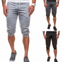 Fashion Solid Color Knee-length Sports Shorts for Men