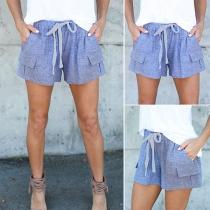 Fashion Solid Color Drawstring Waist Shorts