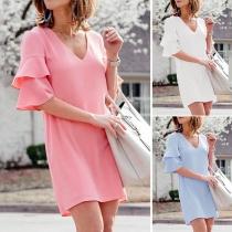 Fashion Solid Color Lotus Sleeve V-neck Dress