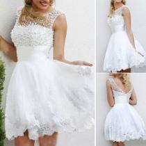 Sexy Backless Bead Lace Spliced Sleeveless Wedding Dress