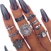 Retro Style Rhinestone Inlaid Alloy Ring Set 9 pcs/Set