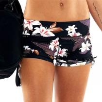 Sexy Gauze Spliced Printed Pattern Slim Fit Yoga Shorts