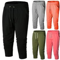 Fashion Solid Color Drawstring Waist Men's Sports Capri Pants