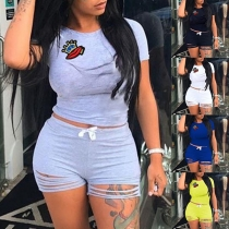 Fashion Short Sleeve Round Neck T-shirt + Ripped Shorts Two-piece Set