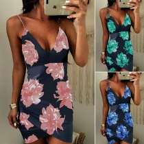 Sexy Backless Deep V-neck Slim Fit Printed Sling Dress