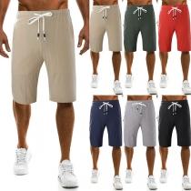 Fashion Solid Color Elastic Waist Men's Sports Knee-length Shorts